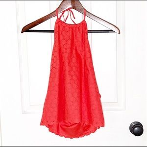 J. Crew NWT Coral Eyelet Halter Top Size 6